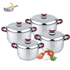 Kitchen tool spoon 9pcs metal Hot Pot casserole set stainless steel stock pot and pan set with color silicone handle