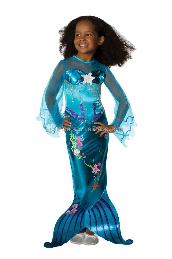 Kids Blue Magical Mermaid Movie Costume Halloween cosplay costume QMKC-0022