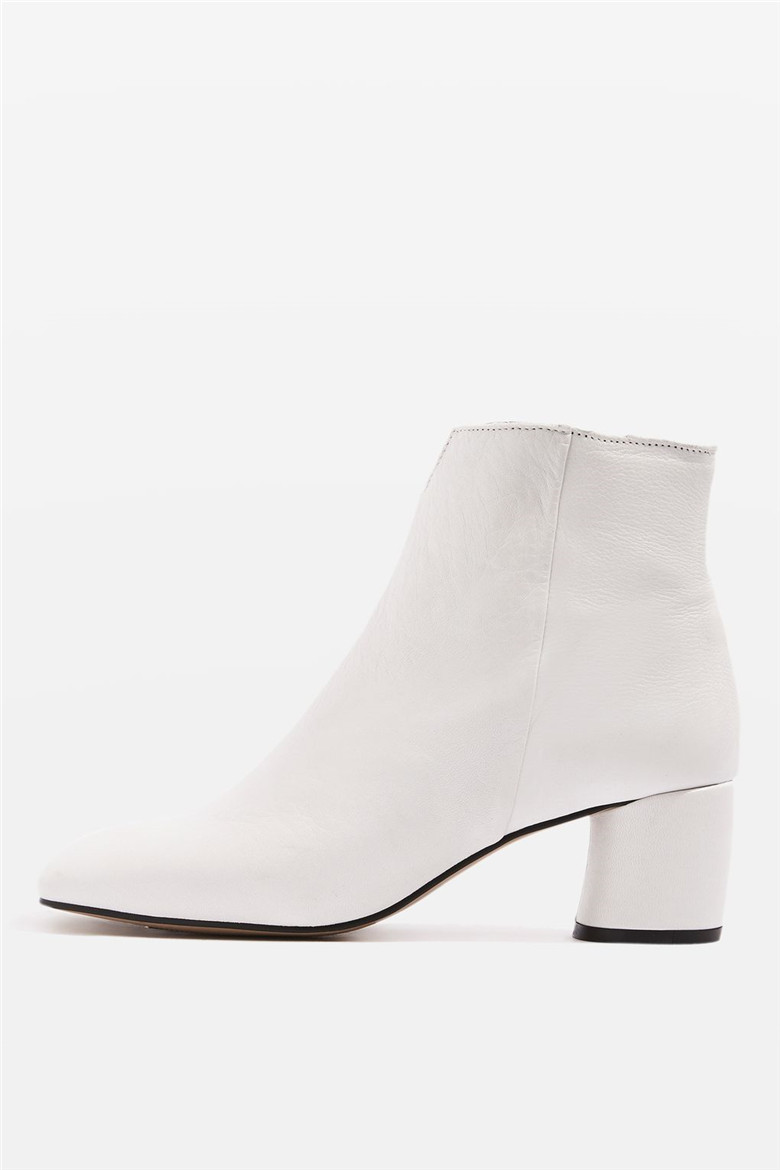 d35e88338 Ladies Classic Flat Boot Cow leather white cut out zip up ankle boots for  women