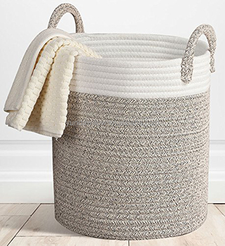 e7eb997b9d66 Extra Large Storage Baskets Cotton Rope Basket Woven Baby Laundry Basket  with Handle for Diaper Toy