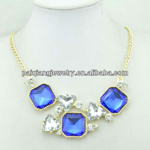 Yiwu Factory Direct Sale elegant lady jewellery blue square diamond necklace