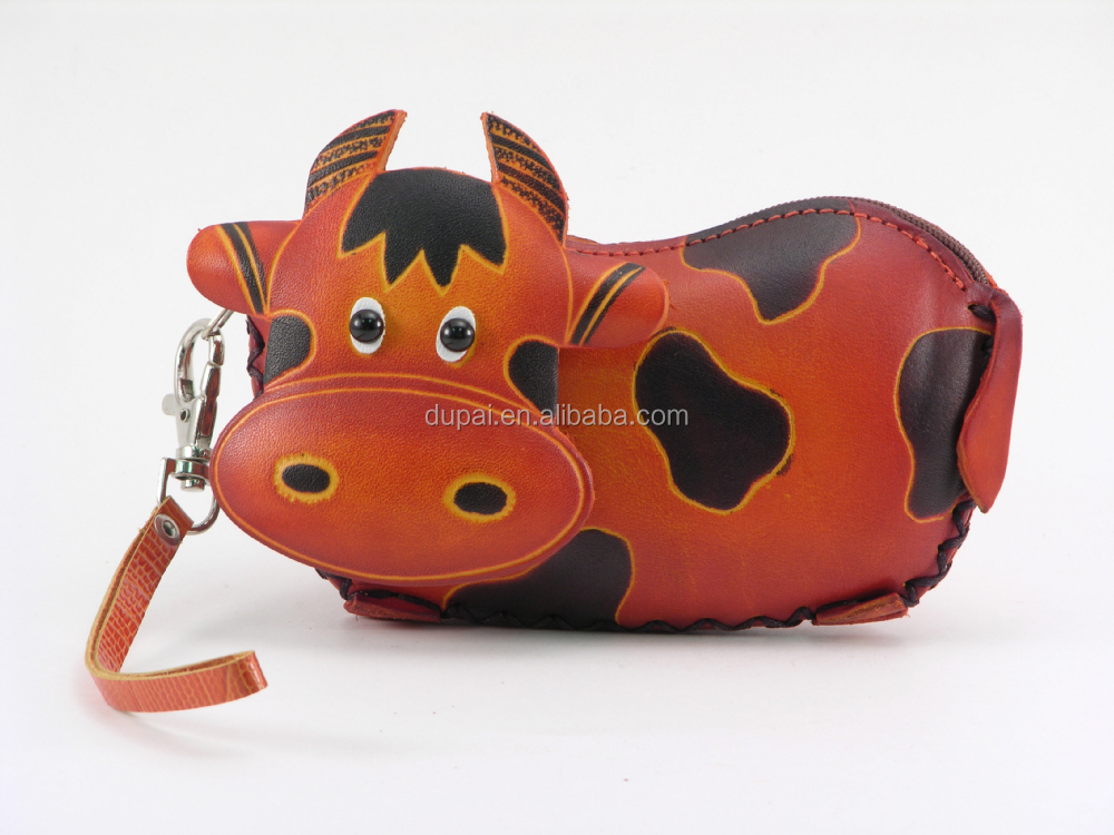 Wholesale Animal Shaped Leather Coin Purse Cow Face
