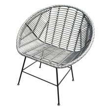 Outdoor Patio Furniture Rattan Garden Chair Dining Chair with Metal Legs