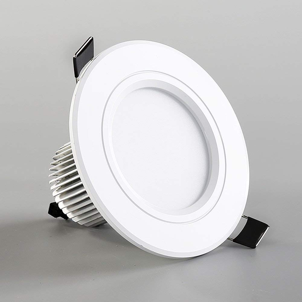 Splindg 1Pcs LED Downlight 110V 240V 12W 18W LED Ceiling with IC Driver Round Recessed Lamp LED Spot Light for Bedroom Kitchen (Color : Warm White, Size : 4 inches 12W)