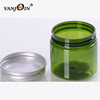 Trade Assurance Makeup Pot 100ml PET Green Round Plastic Jar With Aluminum Cap