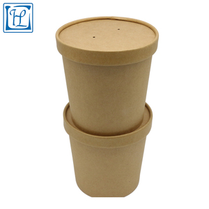 Food grade take away disposable kraft paper soup bucket/cup with lid
