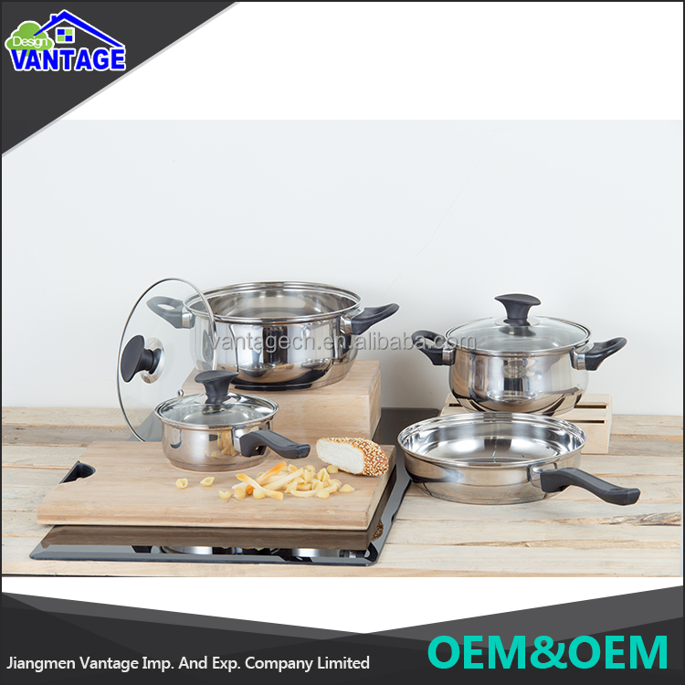 High quality stainless steel kitchenware cooking pot and frying pan 7pcs cookware sets