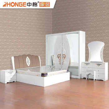 Wooden White High Gloss Beautiful Bedroom Pvc Furniture Set