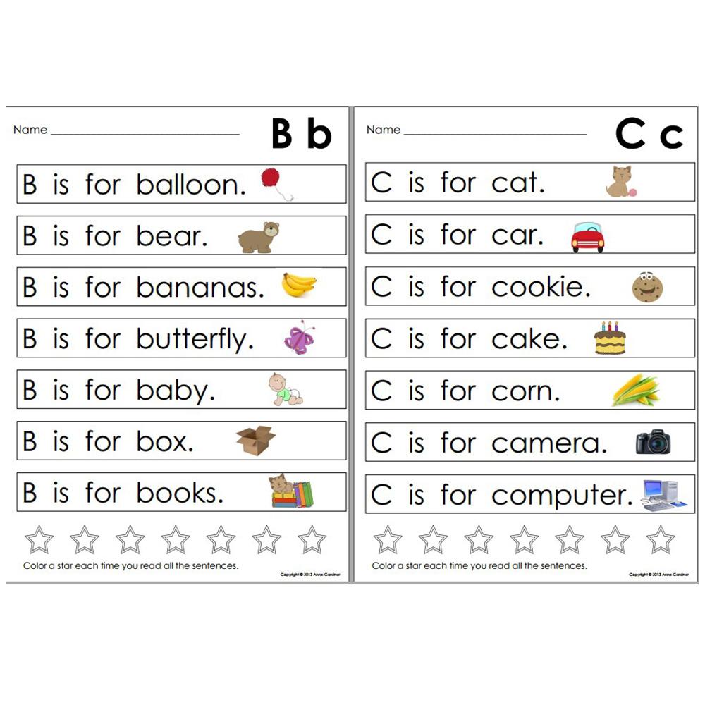 learning abc alphabet sentences english workbook