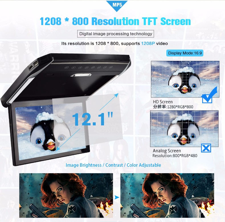 flip down 12..1 Inch Car roof monitor MP5 player function