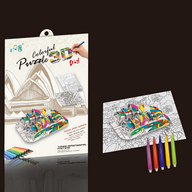 Kids drawing color paper cardboard diy 3d puzzle