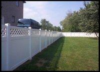 white privacy vinyl PVC fence with lattice