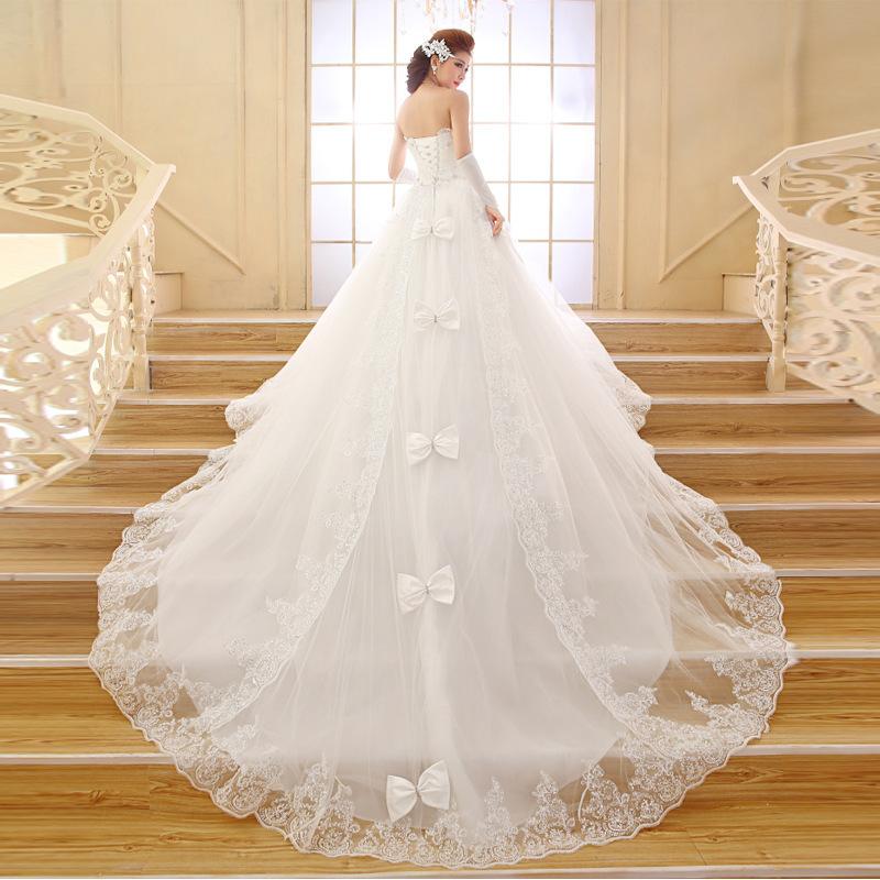 Wedding Gown Bra: Bride Wedding Dress 2015 New Lace Bra Long Tail Trailing