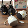 Lovely striped Canvas Bag Drawstring Bag small mobile phone bag