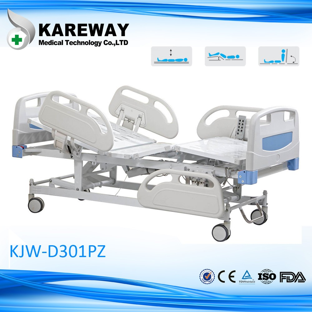 3 function electric hospital patient beds with adjustable bed backrest