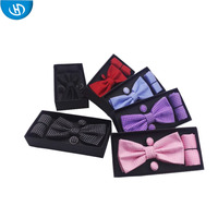 Red Pocket Square Wholesale Matching Pattern Bow Tie Handkerchief Sets For Gift