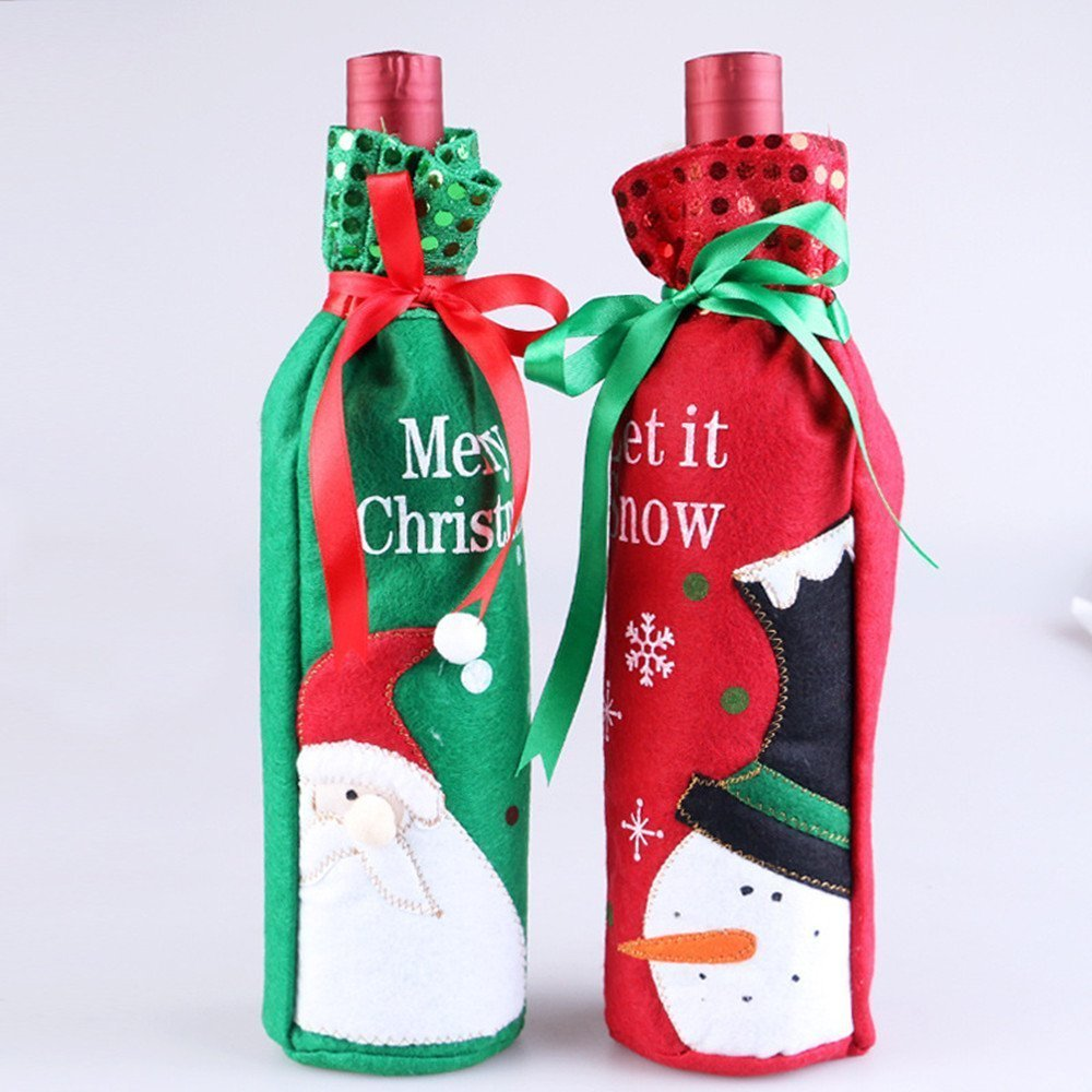 Get Quotations · Idealgo pack of 2 one pair snowman and Santa Claus Wine  Bottle Cover Bag for 82c7a23d96