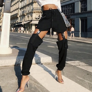 Hollow out Leg Buckle Garter Link Punk Pants Women High Waist Buckle Suspender Cargo Pants SUSPENDER DETAIL JOGGERS