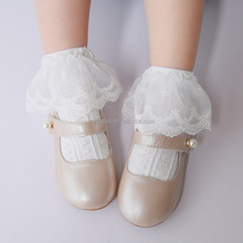 Plain white baby socks senior socks with lace trim