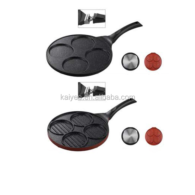 high quality cast iron round non-stick grill griddle pan
