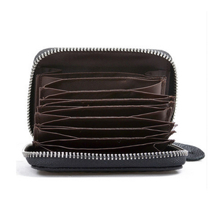 woven leather accordion design leather zipper card holder