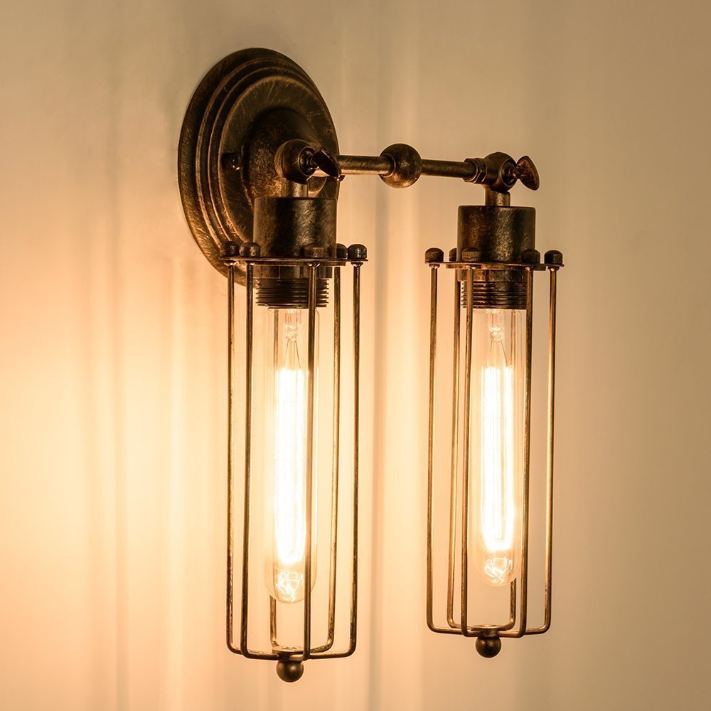 CGJDZMD Wall Sconce Vintage Wall Light Industrial Style Lighting Adjustable Socket Rustic Wire Metal Cage Wall Lamp Indoor Home Retro Lights Fixture(E27 Socket, No Light Bulbs)