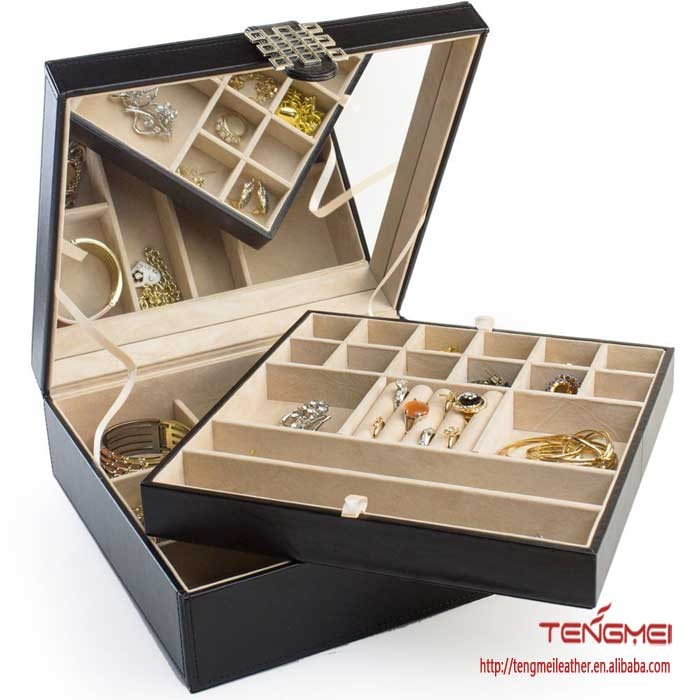 28 Section Classic Jewelry Organizer with Modern Buckle Closure