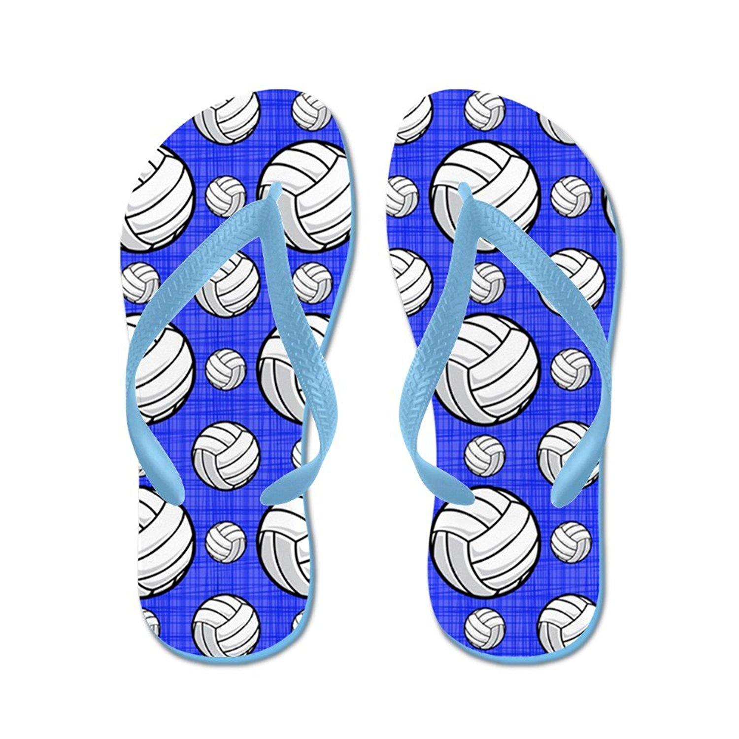 d0e32235a Get Quotations · CafePress Royal Blue Volleyball Pattern - Flip Flops