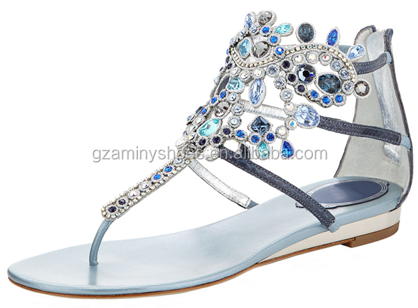 Flat comfortable summer girls sandals 2015 sexy beautiful crystal diamond sandals for ladies