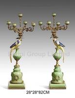 Pair Colorful Porcelain Parrots Candle Holder,Home Decor Bronze Mouthed Candle Stick Porcelain Parrots Figurine