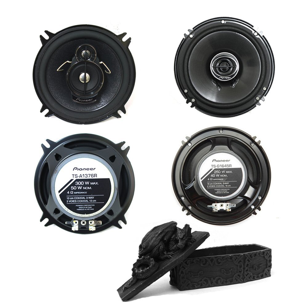 "Pioneer TS-G6845R 6""x8"" 2-way 250 Watt and Pioneer TS-A1376R 5.25"" A-Series 300-Watt 3-Way Speaker Set Plus Free Dragon Trinket Box"