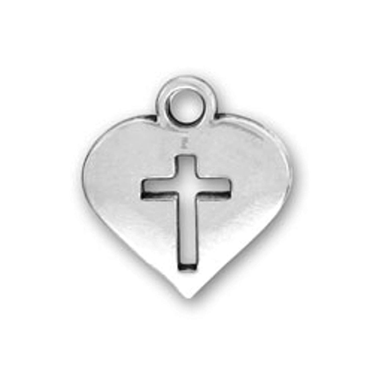"Sterling Silver 7"" 4.5mm Charm Bracelet With Attached Heart With Cutout Christian Cross Charm"