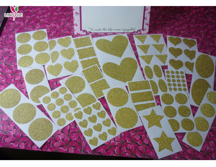 Glitter gold or silver  shape  stickers