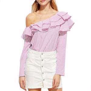 One Shoulder Ruffle Famous Neck Blouse Design Sexy Blouse Designs For Women