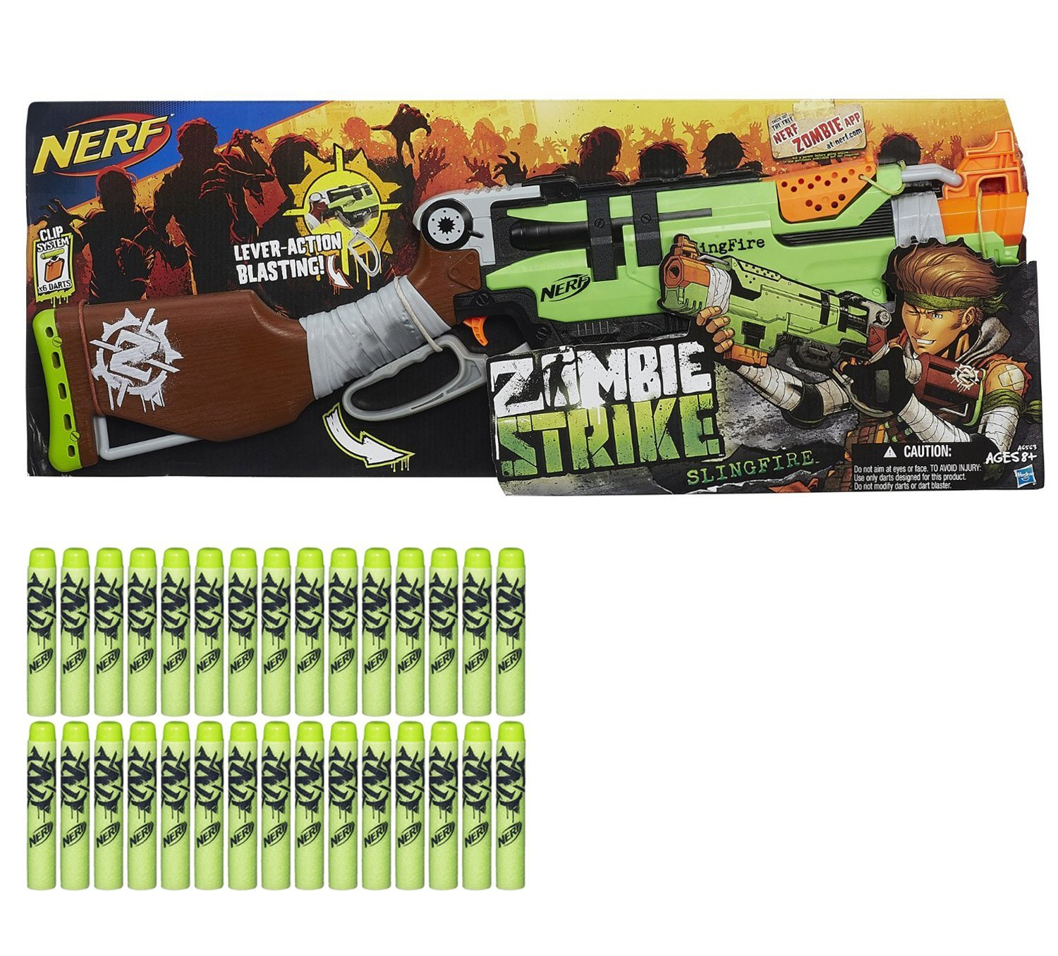 Nerf Zombie Strike SlingFire Blaster with Nerf Zombie Strike Dart Refill Pack Bundle of 2 Items