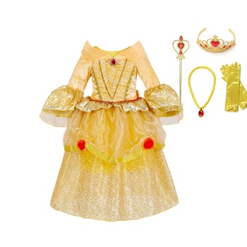 Princess Belle Dress up Girls Flare Sleeve Deluxe Layered Sleeping Beauty Cosplay Costume Children Halloween Party Dress