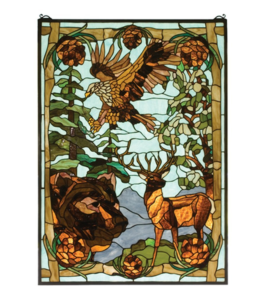 "Meyda Hand Crafted Designed Art Decorative Panel 25""W X 35""H Wilderness Stained Glass Window"