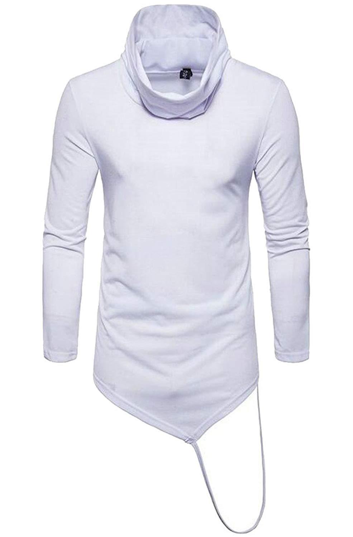 BU2H Men Shirts Long Sleeve Casual Irregular Hem Printing Button Up Shirts