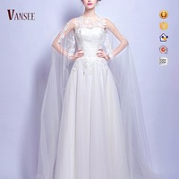 tank sleeveless lace pure white A-line wedding dress bridal gown with mantle