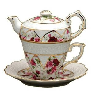 Gracie China by Coastline Imports 4-Piece Porcelain Tea for One, Stacked Teapot Cup Saucer, Red Rose by Gracie China by Coastline Imports