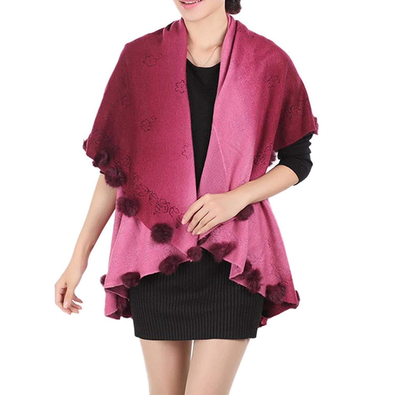 GQMART Womens Loose Knitting Batwing Wool Poncho Jacket Winter Warm Cloak Coat Cardigan Bordeaux