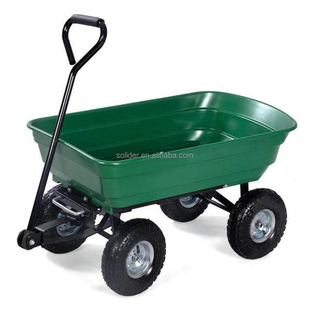 TC2145 Four Wheels Dump Plastic Garden Cart Steel Frame Yard Wagon