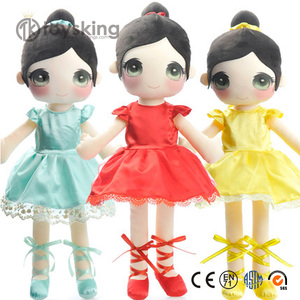 New design custom GSV ICTI certificate 3d face rag lovely baby plush soft Ballerina doll