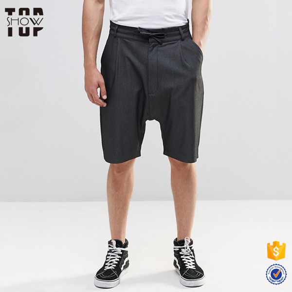 Guangzhou clothing drop crotch tailored shorts tapered leg no problem shorts man