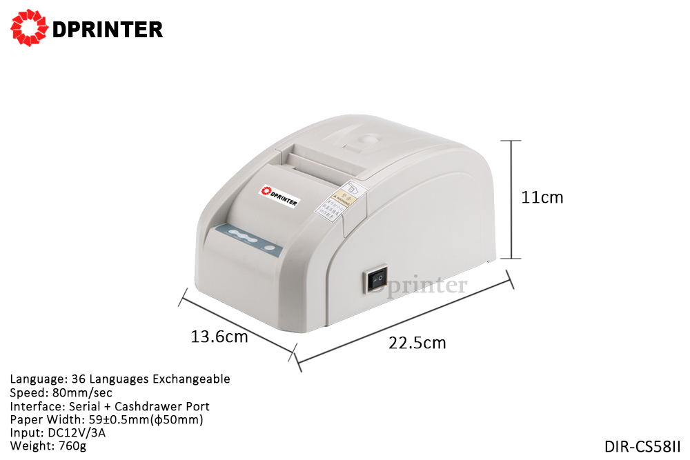 Dprinter 58mm Desktop Thermal Receipt Printer Serial + Cashdrawer Port