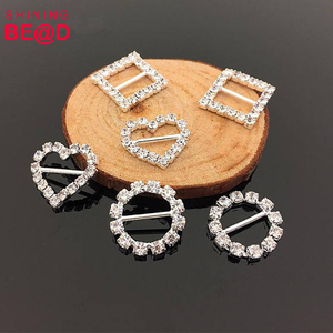 DIY Hair Accessories Supplies Metal Rhinestone Buckle Sliders Crystal Ribbon Buckles For Wedding Decoration