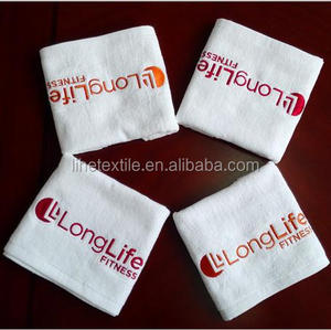 Lowest price small MOQ 100%cotton custom logo embroidered/printed gym sports fitness towel
