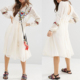 Typical Chinese woman ethic clothes design lace inset double layer embroidered white two pieces dress