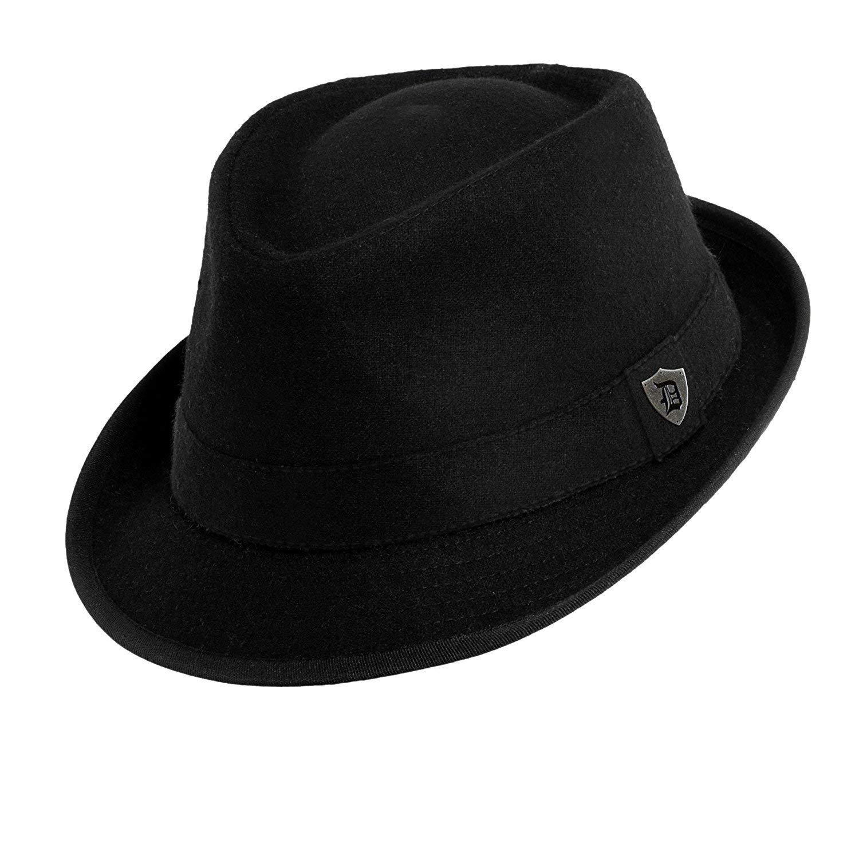 3679ea90 Get Quotations · Dorfman Pacific Mens Wool Black Band Classic Fedora Hat ( Black, Medium)