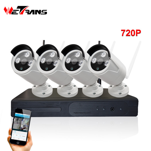 4ch Wireless System 720P NVR 1MP Outdoor IP Camera CCTV KIT Waterproof Wifi Outdoor CCTV Camera 4channel NVR KIT IPK9004B-W 720P